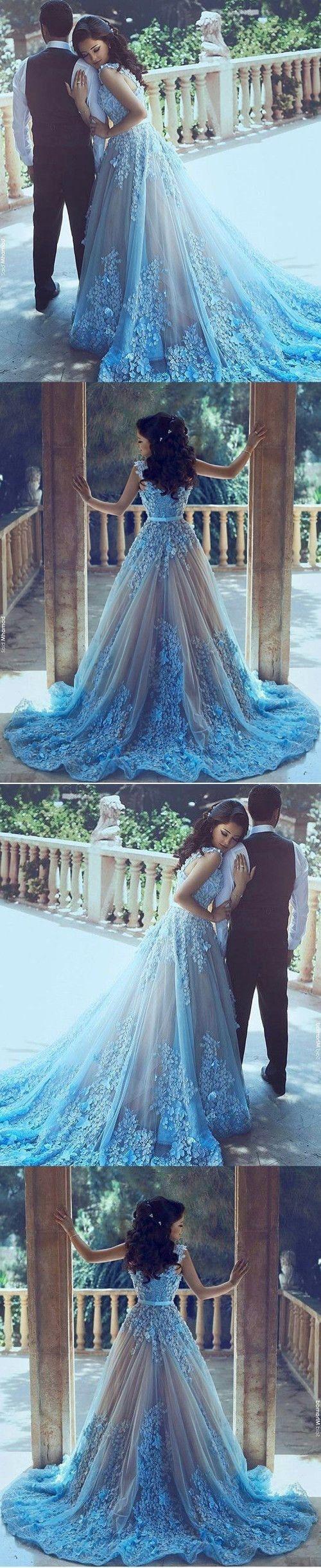 Aline sequare chapel train sleeveless blue tulle wedding dress with