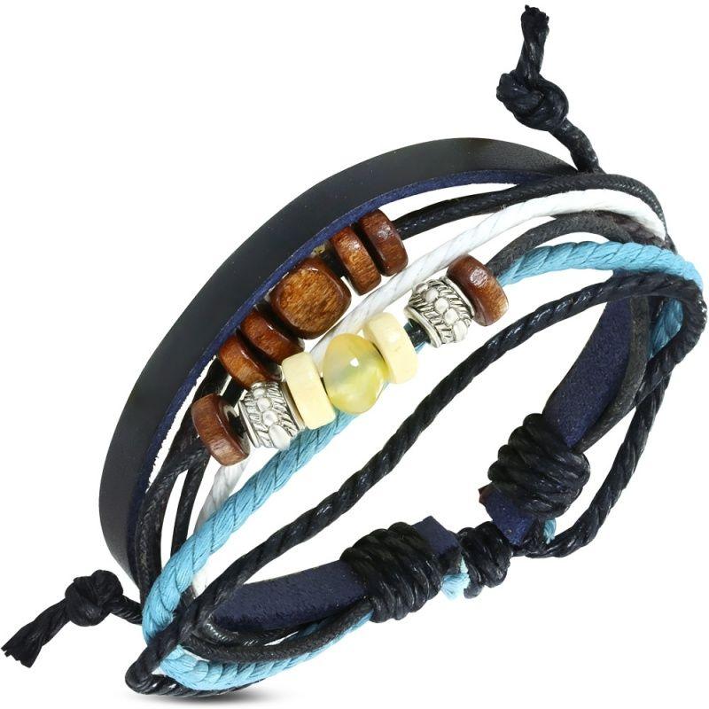 Leren Ibiza armband met houten kralen K968