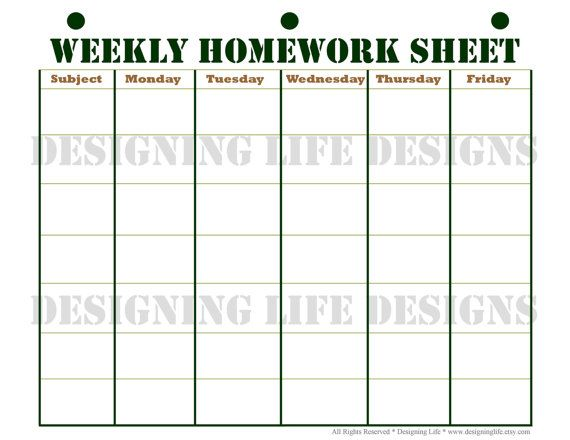 Homework Planner, Schedule, and Weekly Homework Sheet - Student