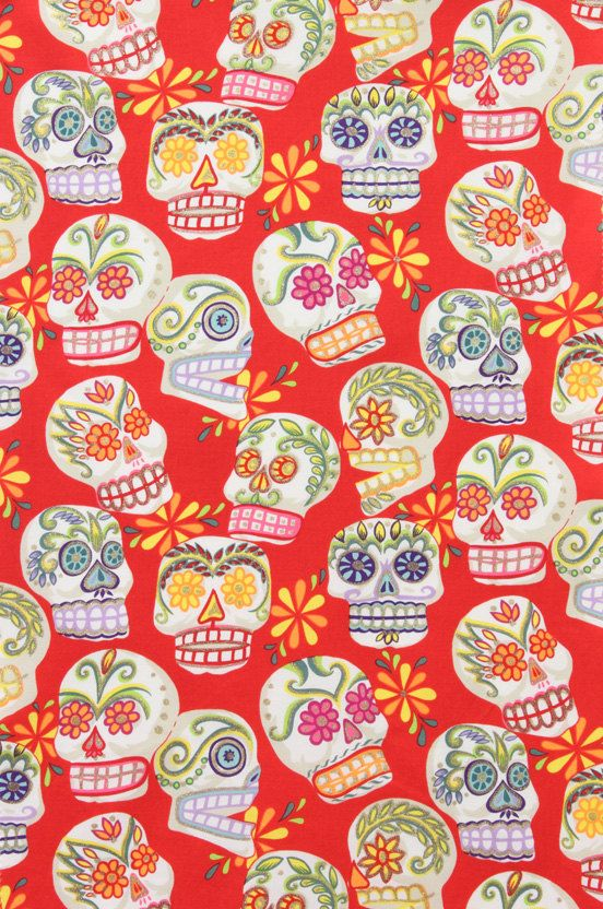 Alexander Henry CALAVERAS SKULLS Red Cotton Quilt Fabric - by the Yard
