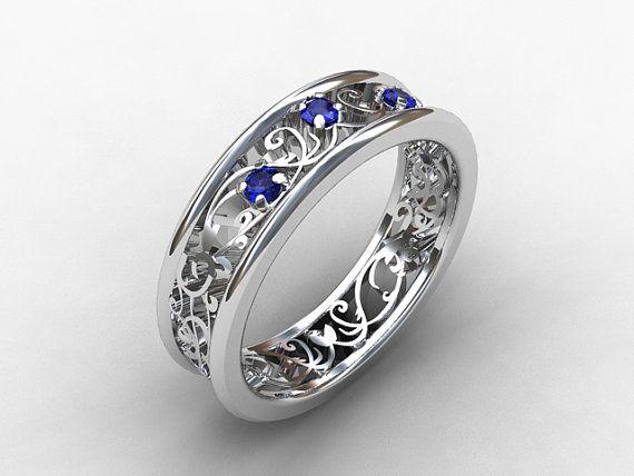 Filigree Wedding Band.Blue Sapphire Filigree Ring White Gold Platinum Wedding Band