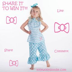 Aqua Chevron Dot Ruffle Neck Capri Set http://www.lollywollydoodle.com/collections/outfits-sets?utm_source=FacebookPosting_medium=TimelinePost_campaign=FBTimelinePostSalesTracker