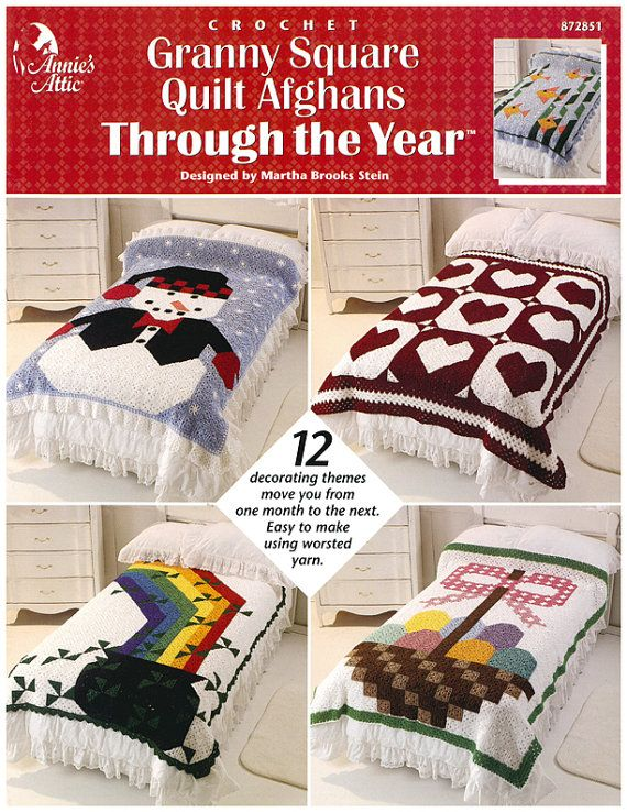 Crochet Granny Square Quilt Afghans Throughout the Year Pattern ...