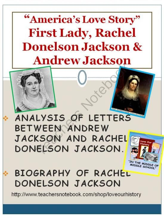 First Lady Rachel Donelson Jackson & Andrew Jackson DBQ from Love Our History on TeachersNotebook.com (7 pages)