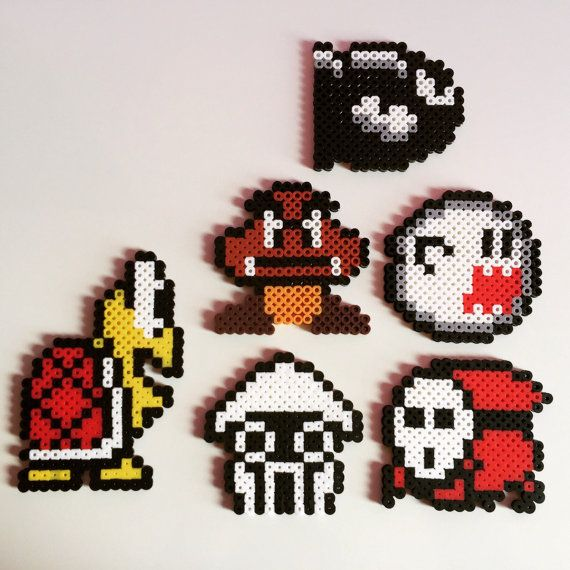super mario bros enemies perler beads koopa shy guy boo billet bill goomba blooper. Black Bedroom Furniture Sets. Home Design Ideas