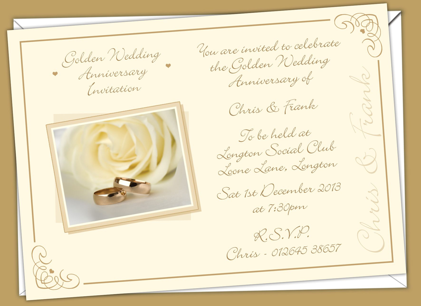 Golden Wedding Anniversary Invitations Prices Start From 6 50 Golden Wedding Anniversary Invitations Anniversary Invitations Wedding Anniversary Invitations