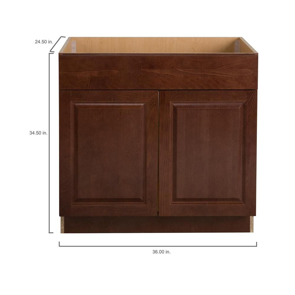 Hampton Bay Benton Assembled 36x34 5x24 5 In Sink Base Cabinet In Amber Bt3635s Rc The Home Depot Bathroom Vanity Base Base Cabinets Open Shelving Kitchen Cabinets