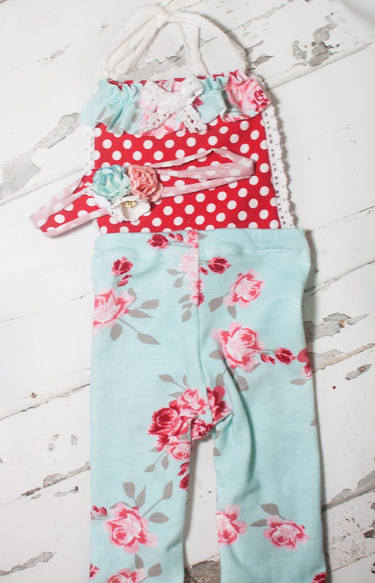 Truly Madly Deeply - adorable romper in floral and polka dots in aqua blue, red, pinks and grey - coordinating headband (RTS) by SoTweetDesigns on Etsy