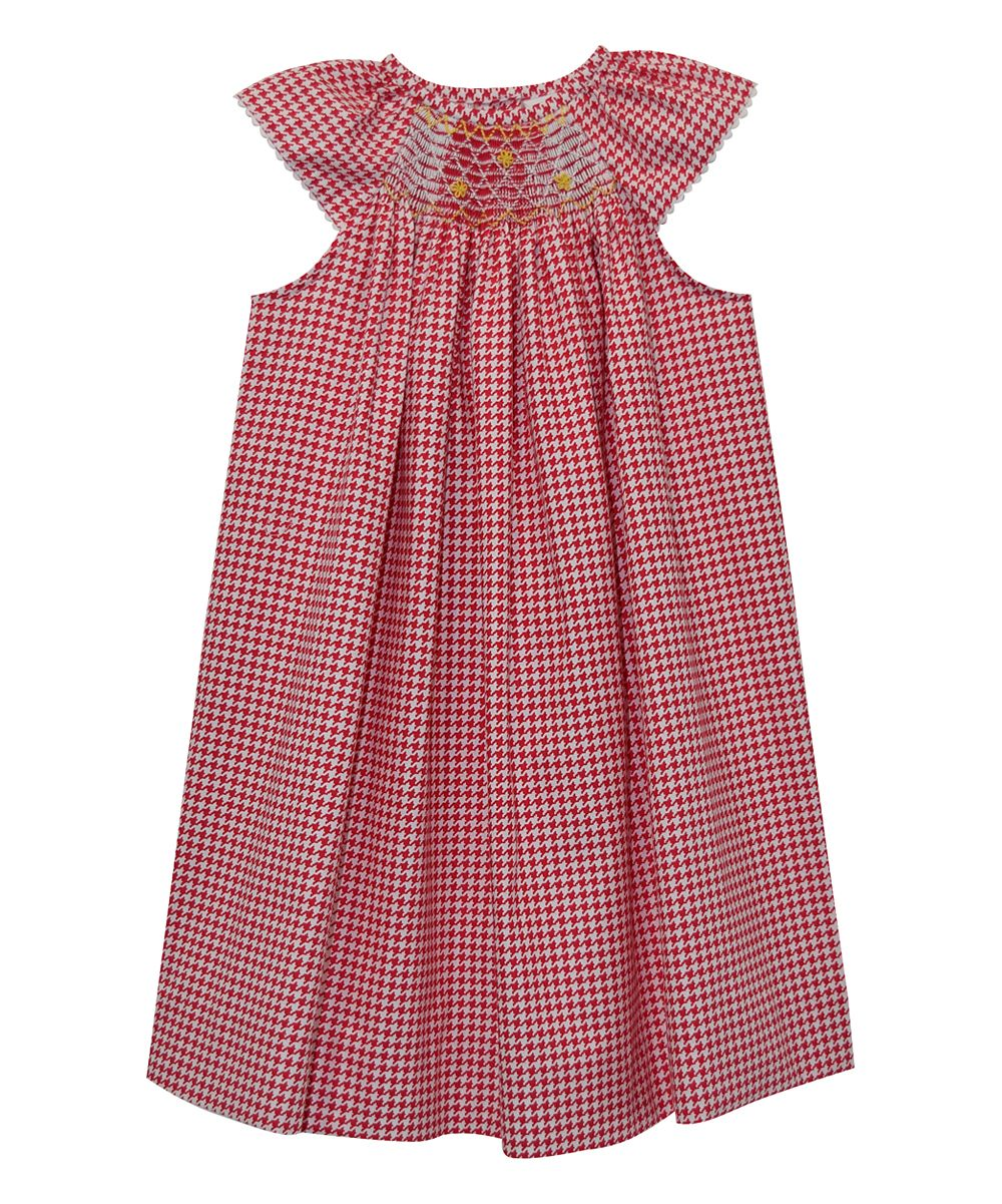 Red Houndstooth Smocked Bishop Dress - Infant Toddler & Girls