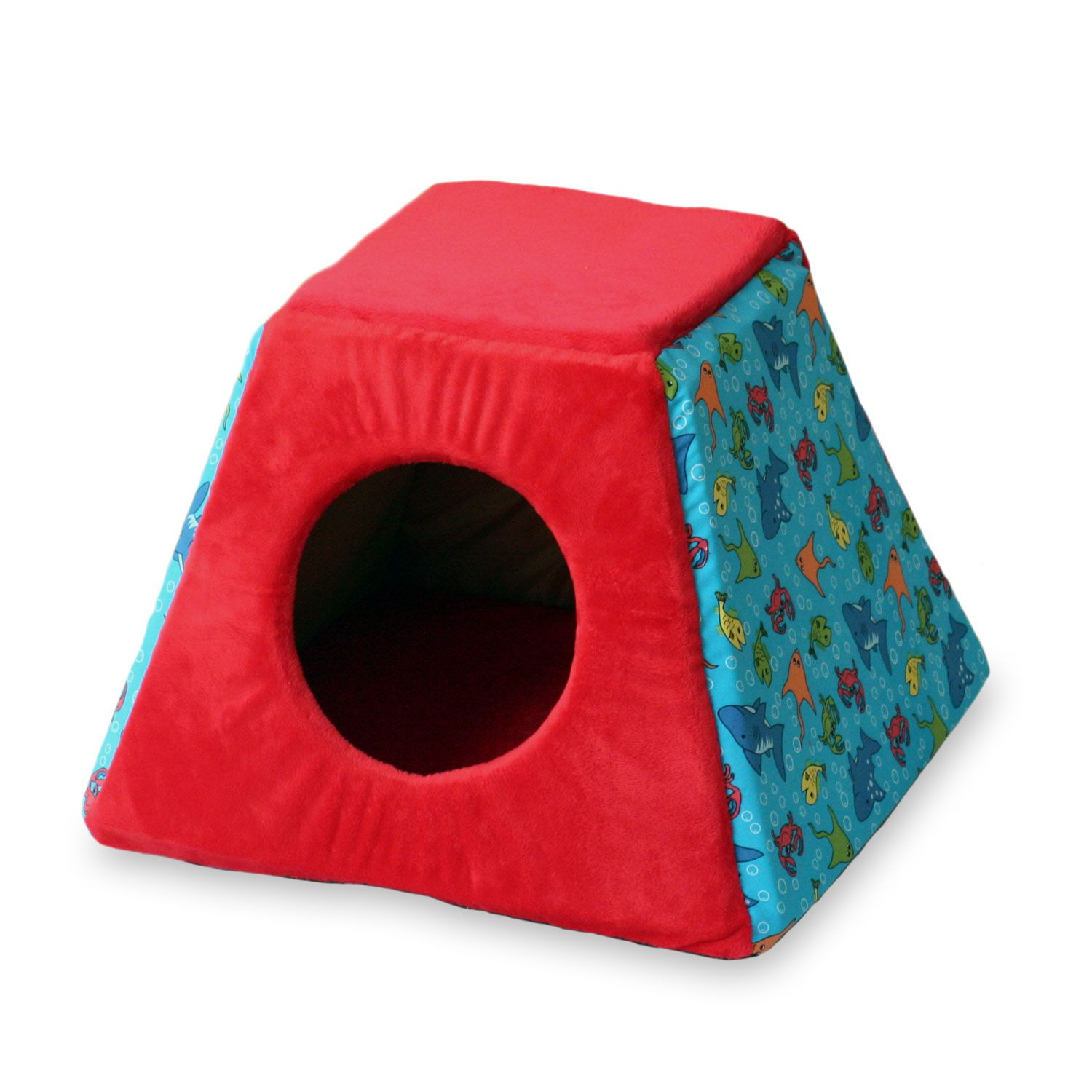K&H Fish Print Thermo-Kitty Cabin Heated Cat Bed in Red | =^..^= for ...