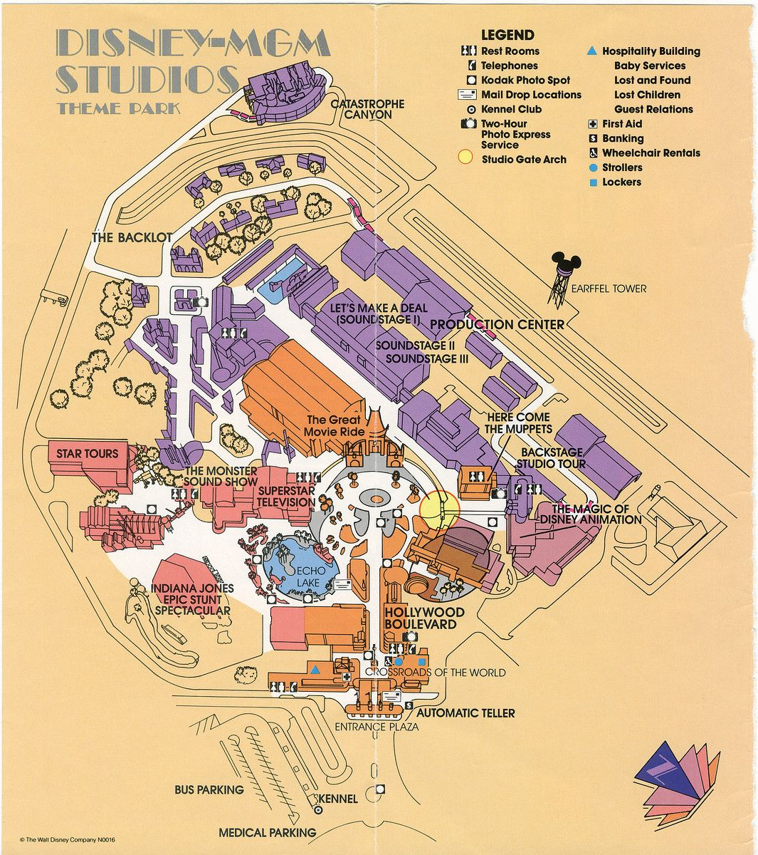 1990 map of Disney MGM Studios which is now known as Hollywood Studios