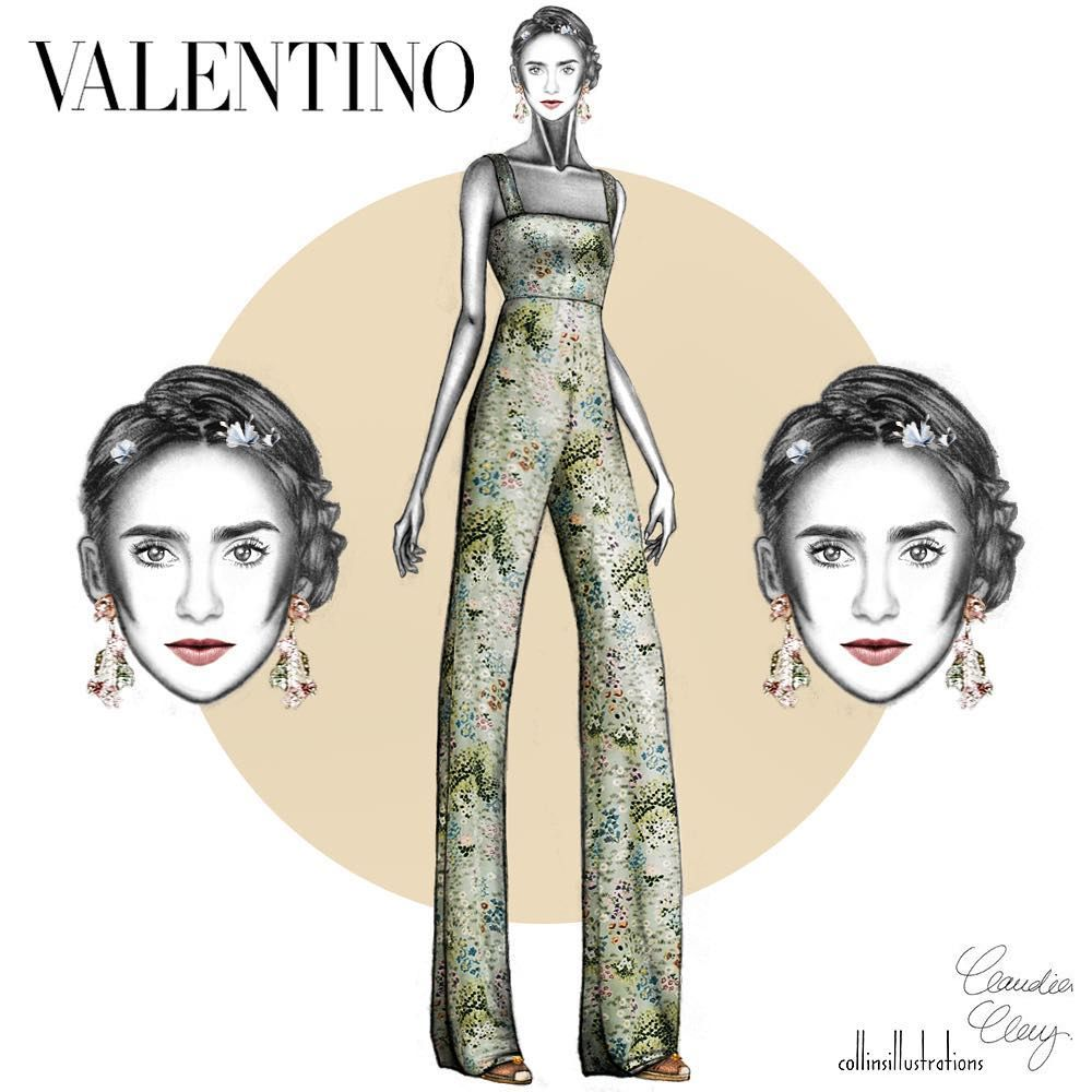 @collinsillustrations sur Instagram : VALENTINO RESORT '16 I put the muse, @lilyjcollins in resort 2016 @maisonvalentino: Look 55. illustration by yours truly @claudiacloudyah
