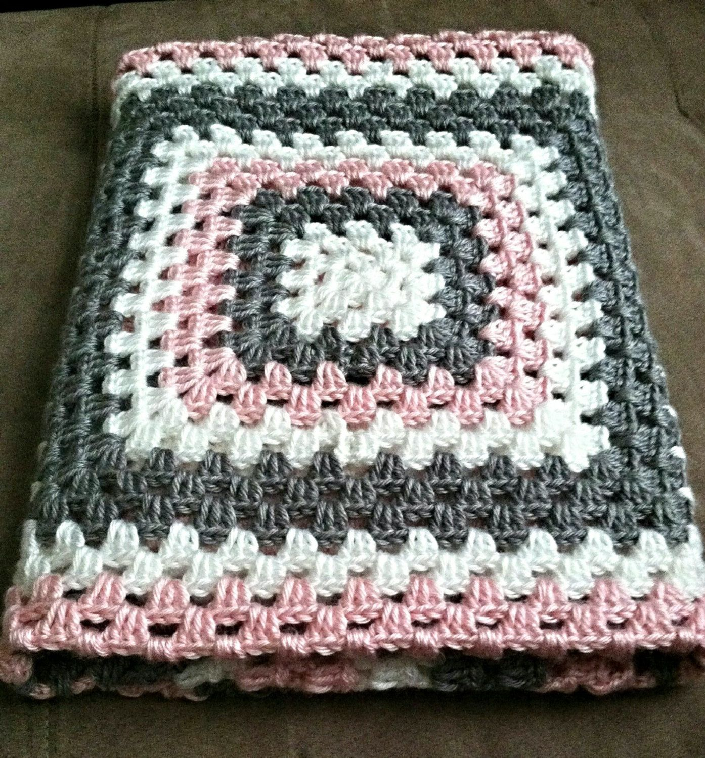 Pink, Grey and White Crochet Granny Square Baby Blanket/Customizable ...