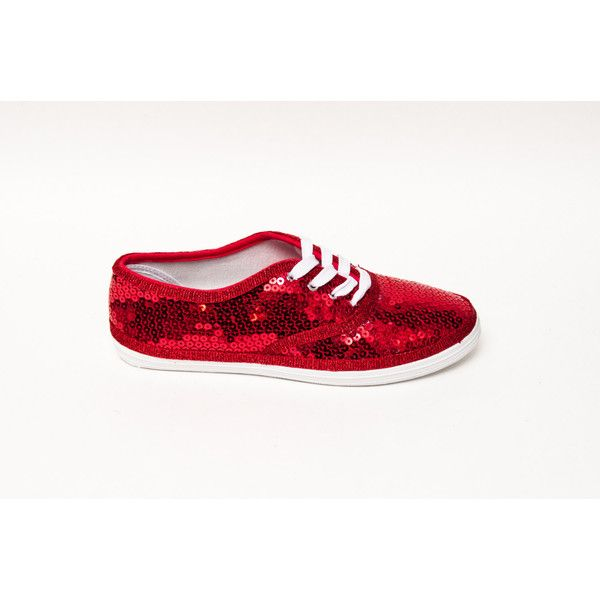 a5f4c0bf8615 Sequin Cvo Princess Pumps Red Canvas Sneaker Sparkly Tennis Shoes ( 40) ❤  liked on