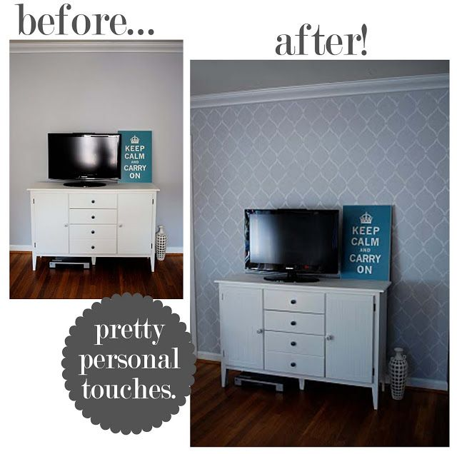 The Busy Budgeting Mama: Stenciled Accent Wall-Quick and Easy?!