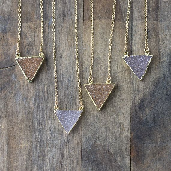 Triangle druzy necklace 24k gold electroplated edge drusy triangle druzy necklace 24k gold electroplated edge drusy gemstone pendant necklace on etsy aloadofball Gallery
