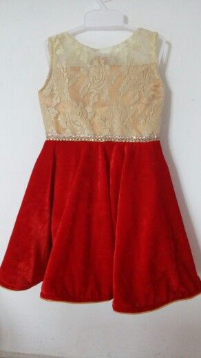 f5c5b7488 Gold Net with Red Velvet.A beautiful dress for ur  angel
