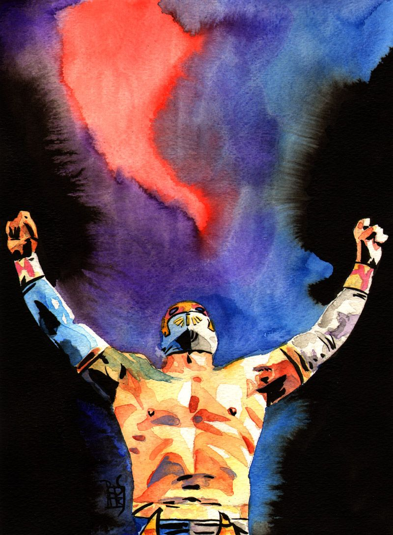 Sin Cara Ink And Watercolor On 9 X 12 Watercolor Paper Wwe