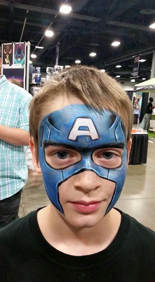 Corey morgan 39 s captain america face paint heroes for America s finest paint