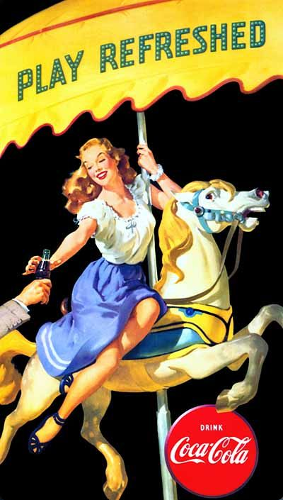 """Gil Elvgren for Coca-Cola """"Play refreshed"""" 1948"""