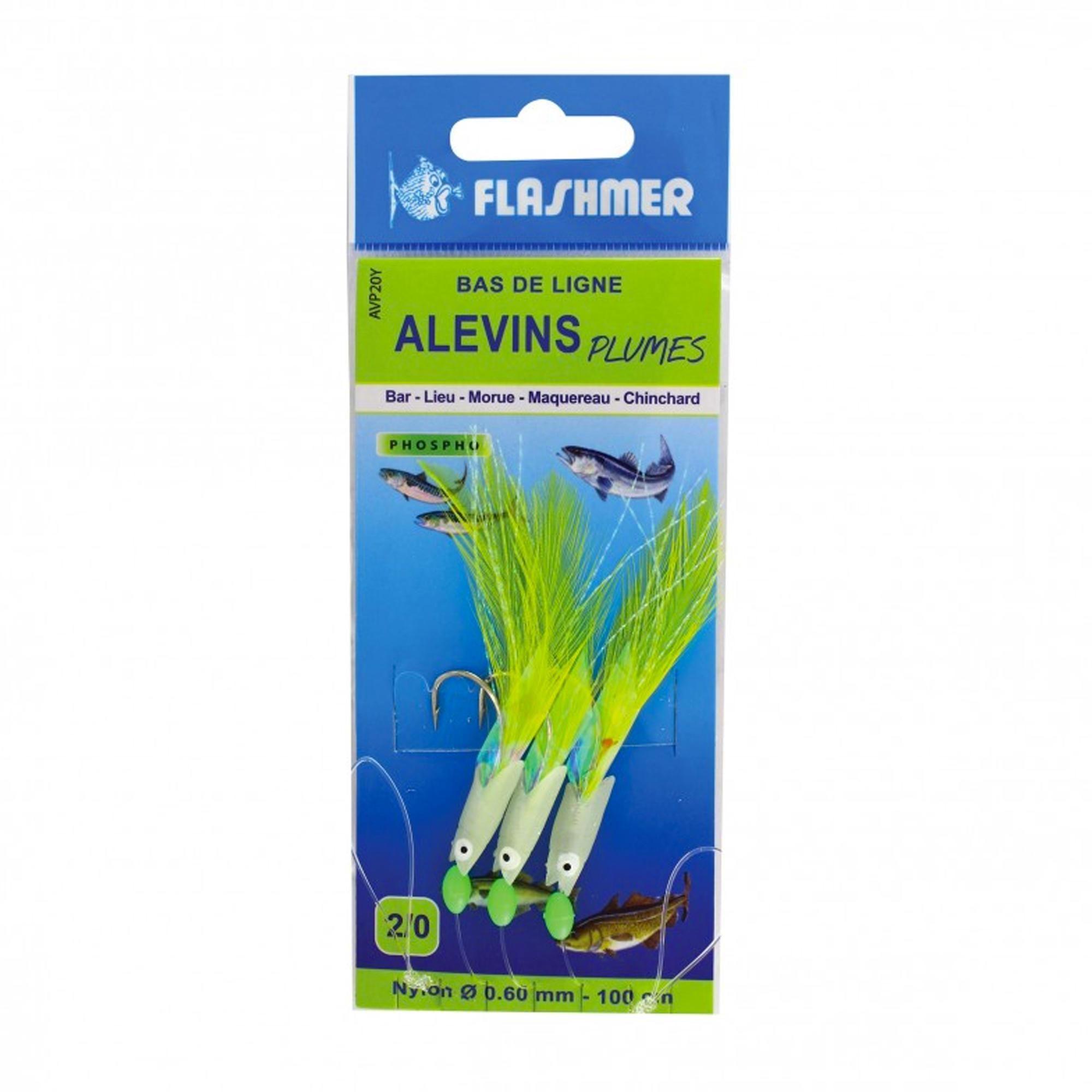 Flashmer - Hengelsport - Verenpaternoster - Onderlijn jonge vissen 3 haken fluorescerend voor vissen op zee. Deze onderlijn is ontworpen voor het vissen op baars en andere zeeroofvissen.