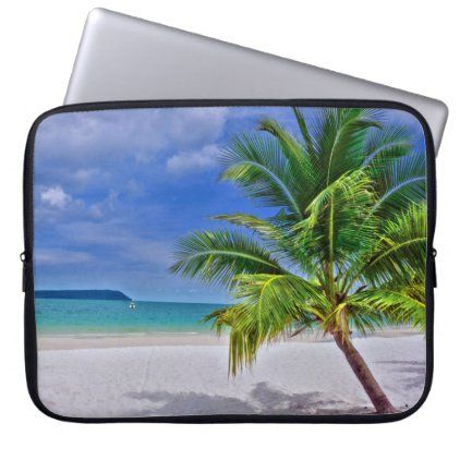 Perfect Palm Tree Tropical Island Beach Laptop Sleeve