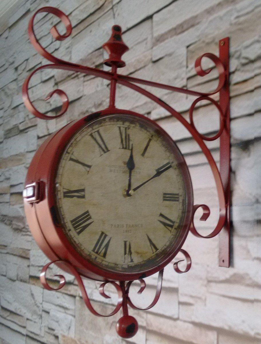 Relógio De Parede Estação Vintage Retrô Lindo R 199 90 Relógios De Parede Vintage Relógio De Parede Relogio De Parede Antigo