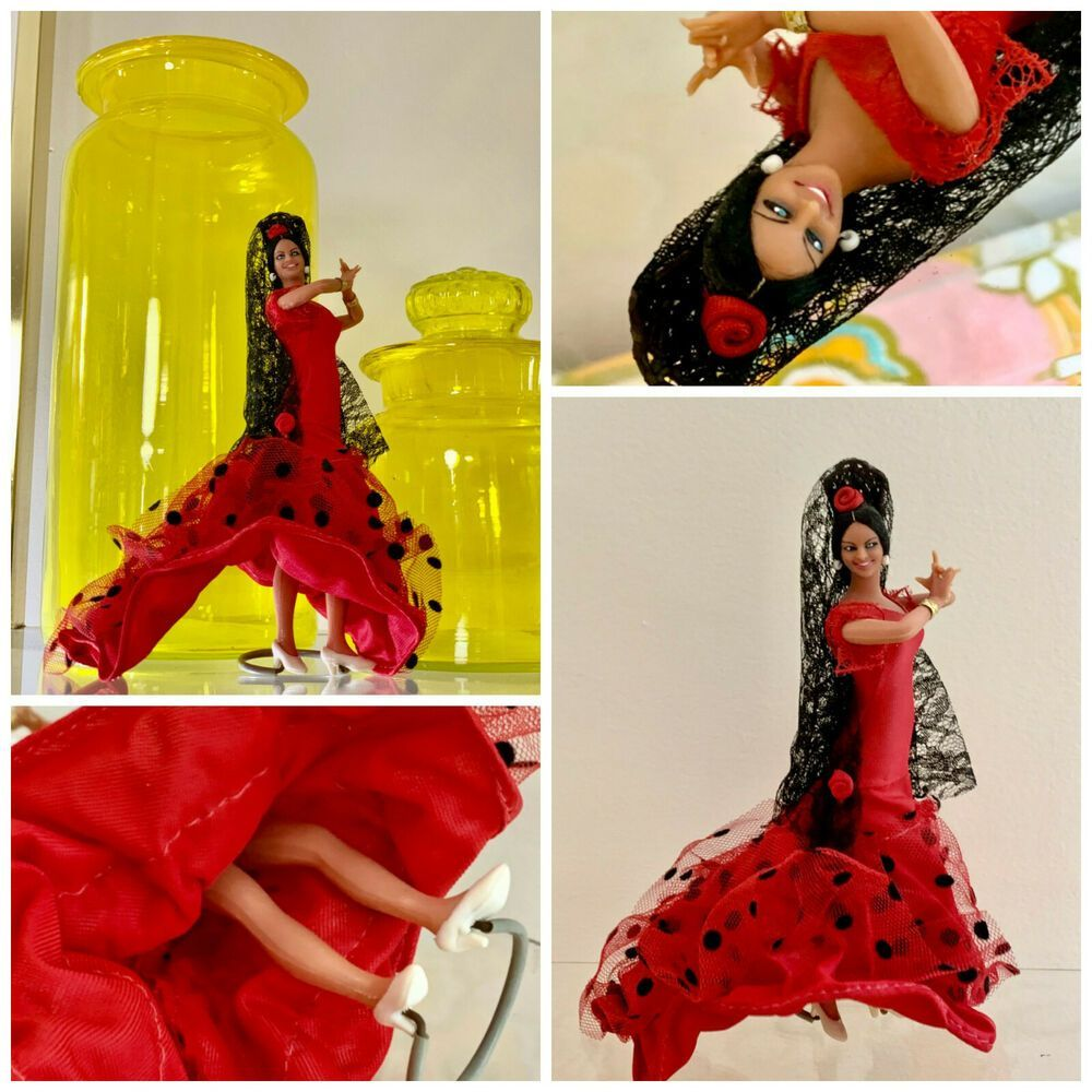 VTG 1960s Retro Travel Souvenir Spanish Doll Flamenco Dancer Marin Chiclana Red #Dolls #spanishdolls VTG 1960s Retro Travel Souvenir Spanish Doll Flamenco Dancer Marin Chiclana Red #Dolls #spanishdolls