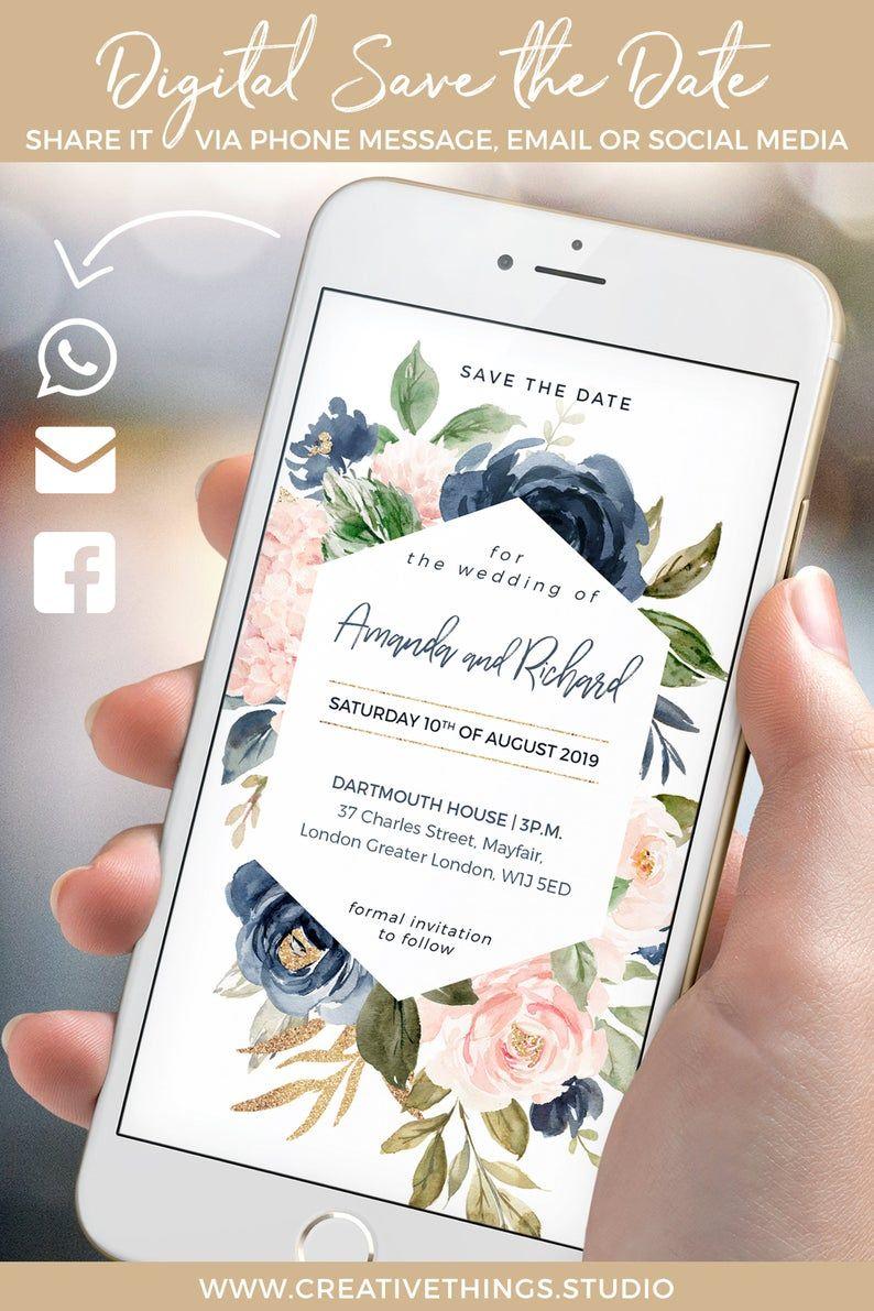 WhatsApp Wedding Invitation Blush Navy & Gold Electronic  Etsy