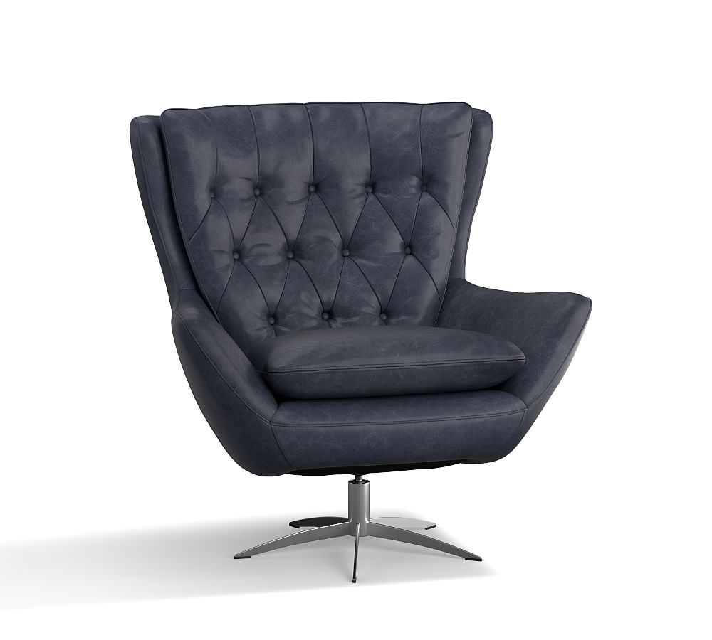 Wells Leather Tufted Swivel Armchair In 2019 Swivel