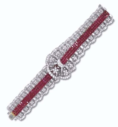 Ruby and diamond bracelet, Harry Winston, 1950 ; Christie's; This elegant bracelet was commissioned by the owner's father in the early 1950's and the design was based upon a piece of lace and a red velvet sash, which was presented to the designer at Harry Winston.
