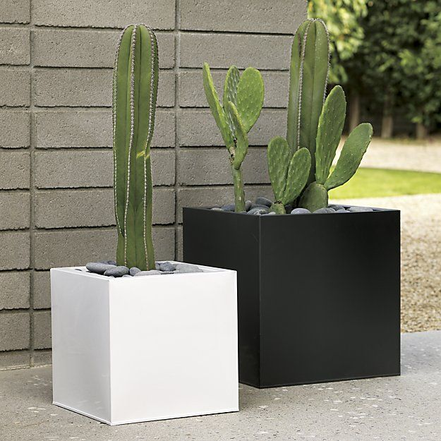 Blox Large Square Galvanized Hi Gloss White Planter 400 x 300
