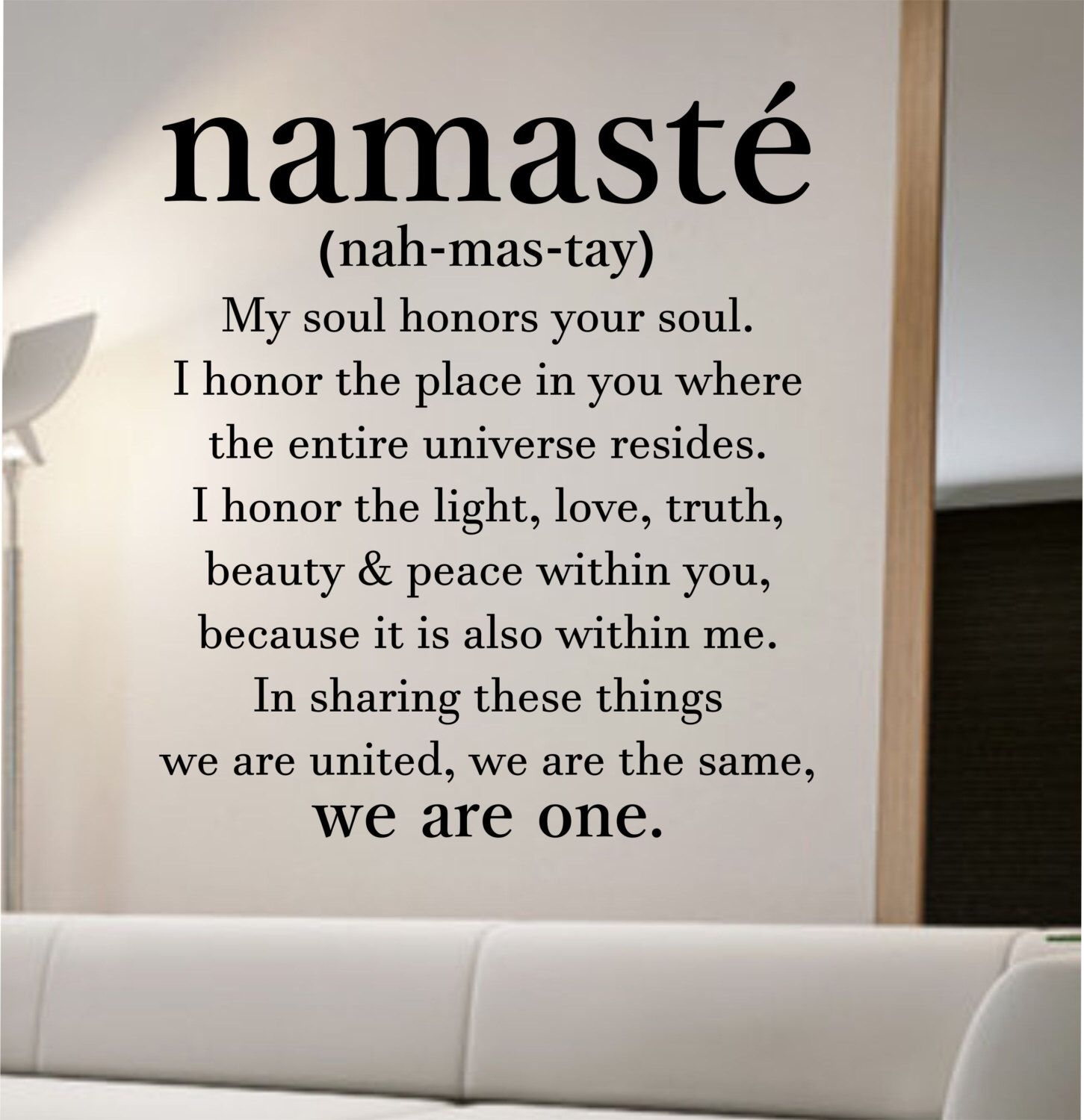 Namaste Definition Quote Wall Decal Vinyl Sticker Art Decor Bedroom Design Mural Home Room Trendy Modern Yoga Peace Love
