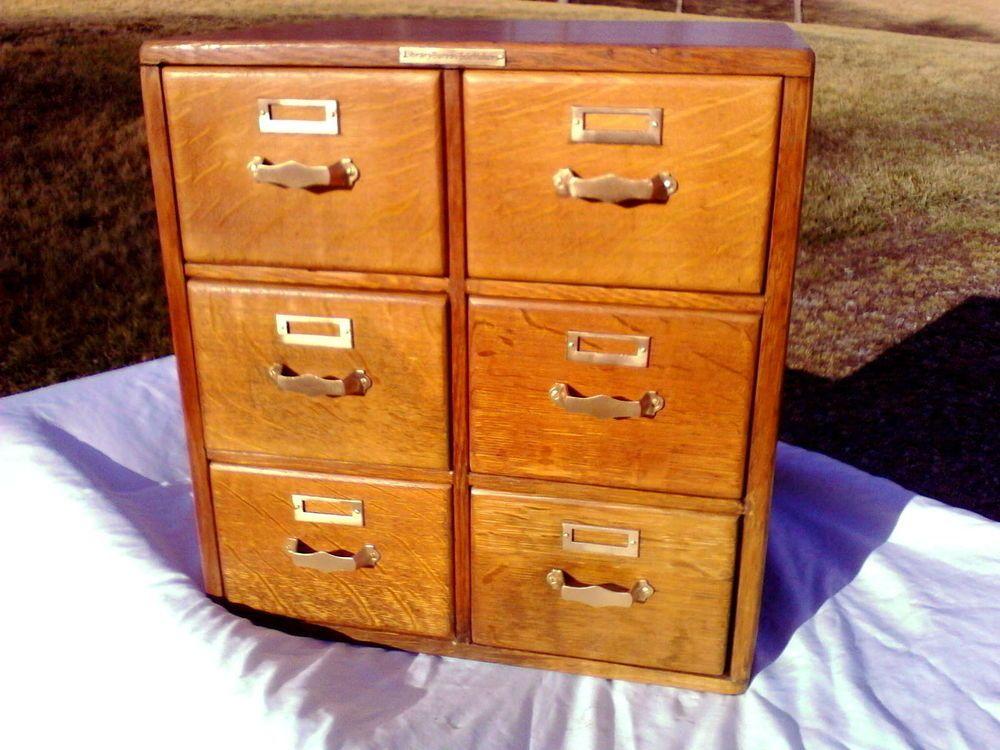 Antique Library Bureau Sole Maker Tiger Oak 6 Drawers Table Top ...