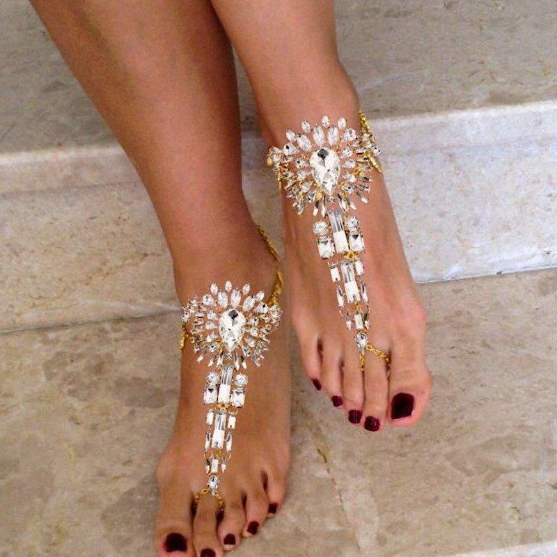 e5296f7dc Beautiful Gold Bridal Foot Jewelry for Weddings on the Beach.Barefoot  Sandals with Gold Chains and Crystals that will Glint and Sparkle on top of  your feet.