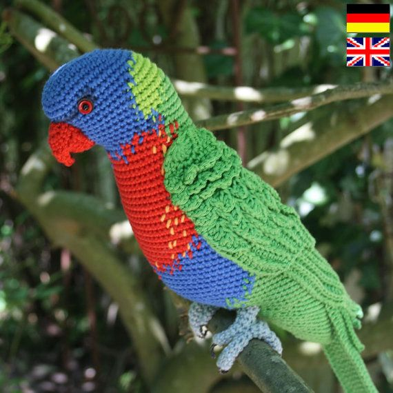 amigurumi rainbow lorikeet crochet pattern pdf english deutsch nederlands papageien die. Black Bedroom Furniture Sets. Home Design Ideas