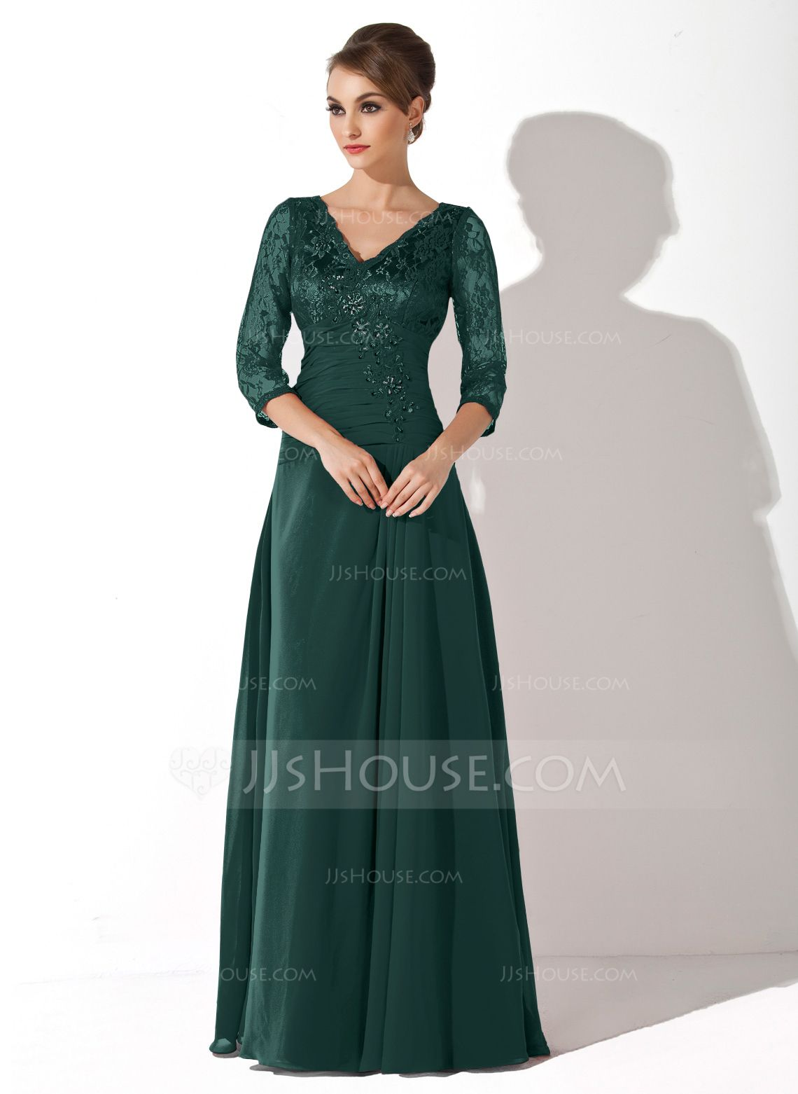 41ae3a65331 A-Line Princess V-neck Floor-Length Chiffon Lace Mother of the Bride Dress  With Ruffle Beading Sequins (008006076) - JJsHouse