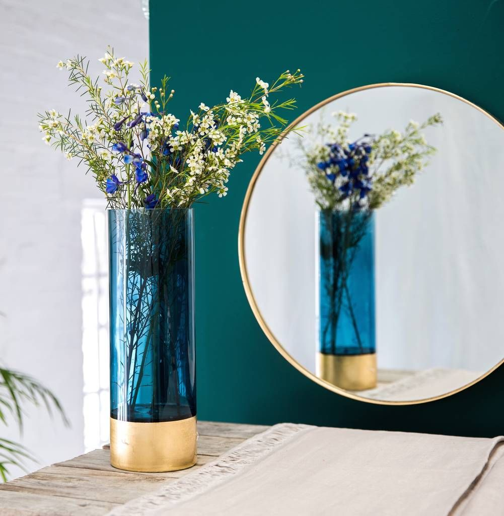 Azure Blue And Gold Embossed Vase In Two Sizes Gold Vases Vase