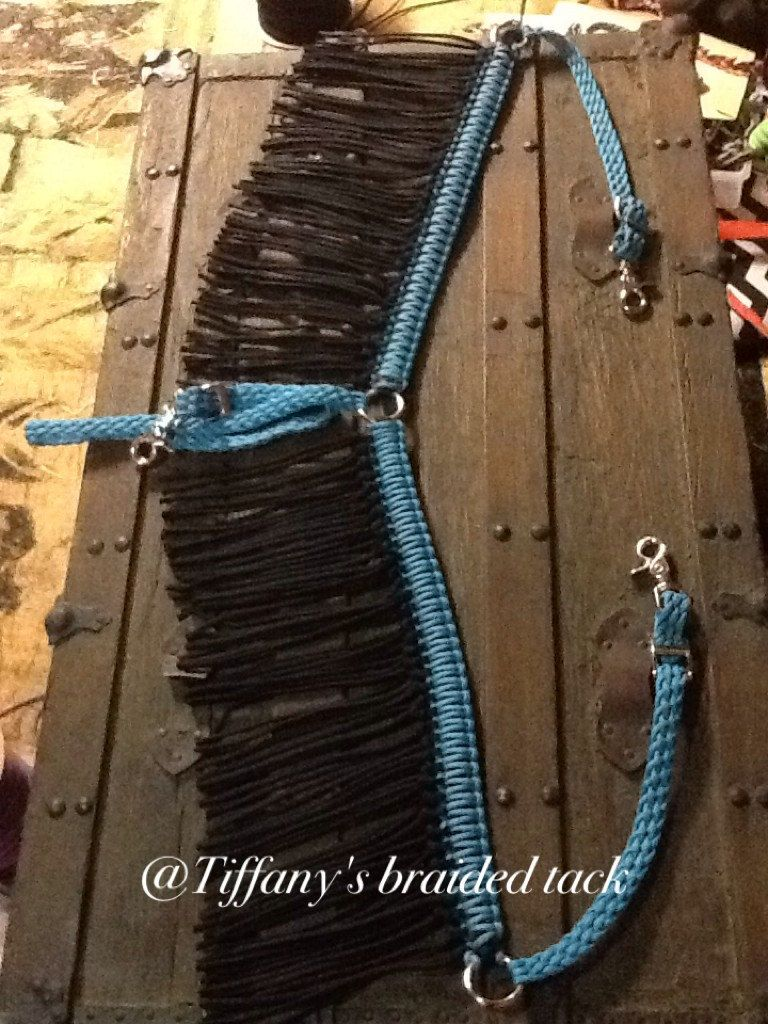 Fringe breast collar paracord horse tack turquoise and for Paracord horse bridle