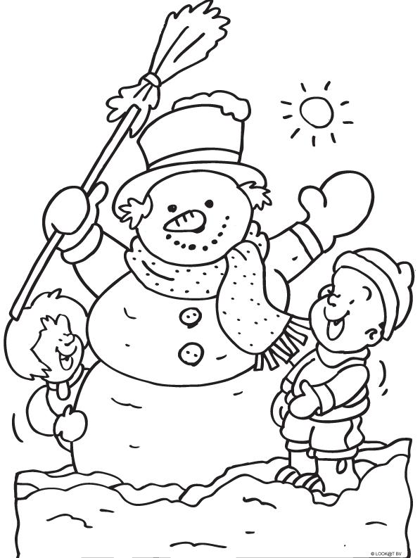 kinderen maken een sneeuwpop winter kleurplaten
