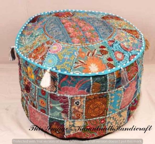 "Indian Ottoman 22"" Patchwork Ottoman Pouf Cover Handmade"