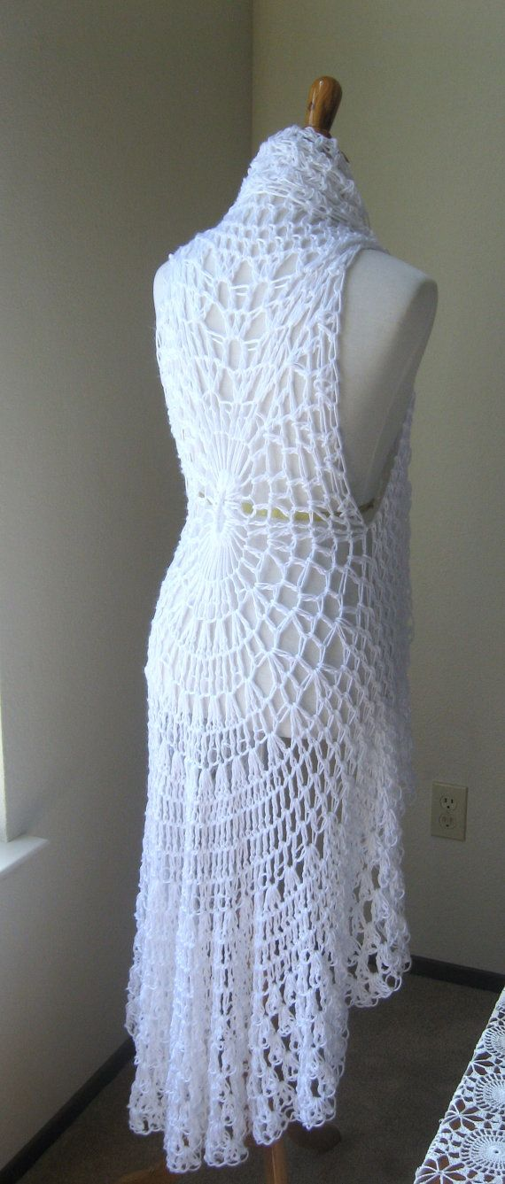 WHITE CROCHET VEST Fit Any Size, Long Crochet Vest, Maxi ...