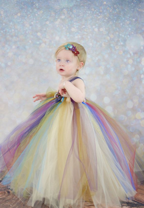 Circus du Solei Rainbow Girls Flower Girl Tutu Dress
