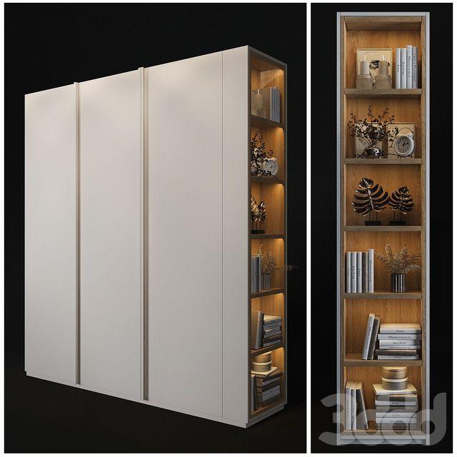 3d модели: Шкафы - Шкаф с полками в торце | Шкаф в спальне ...