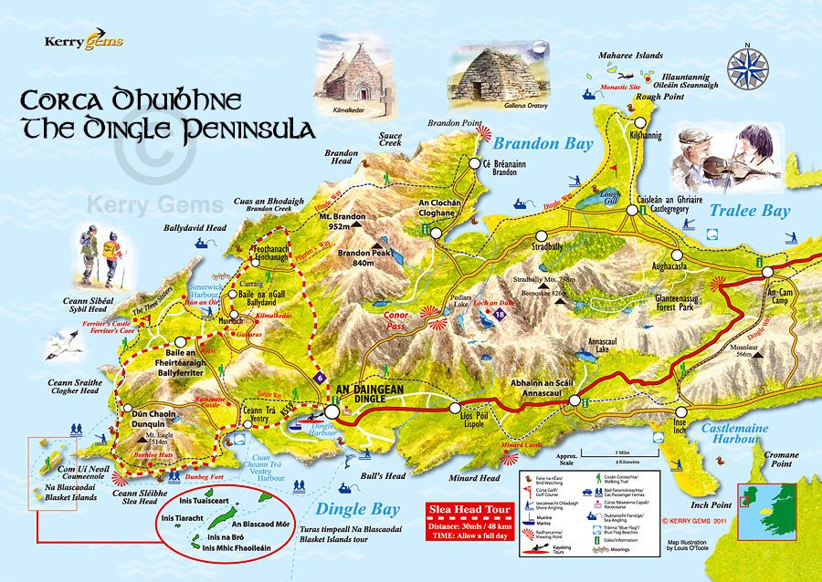 Dingle Peninsula Map Dingle Peninsula: things to see and do map  Co. Kerry, Ireland  Dingle Peninsula Map