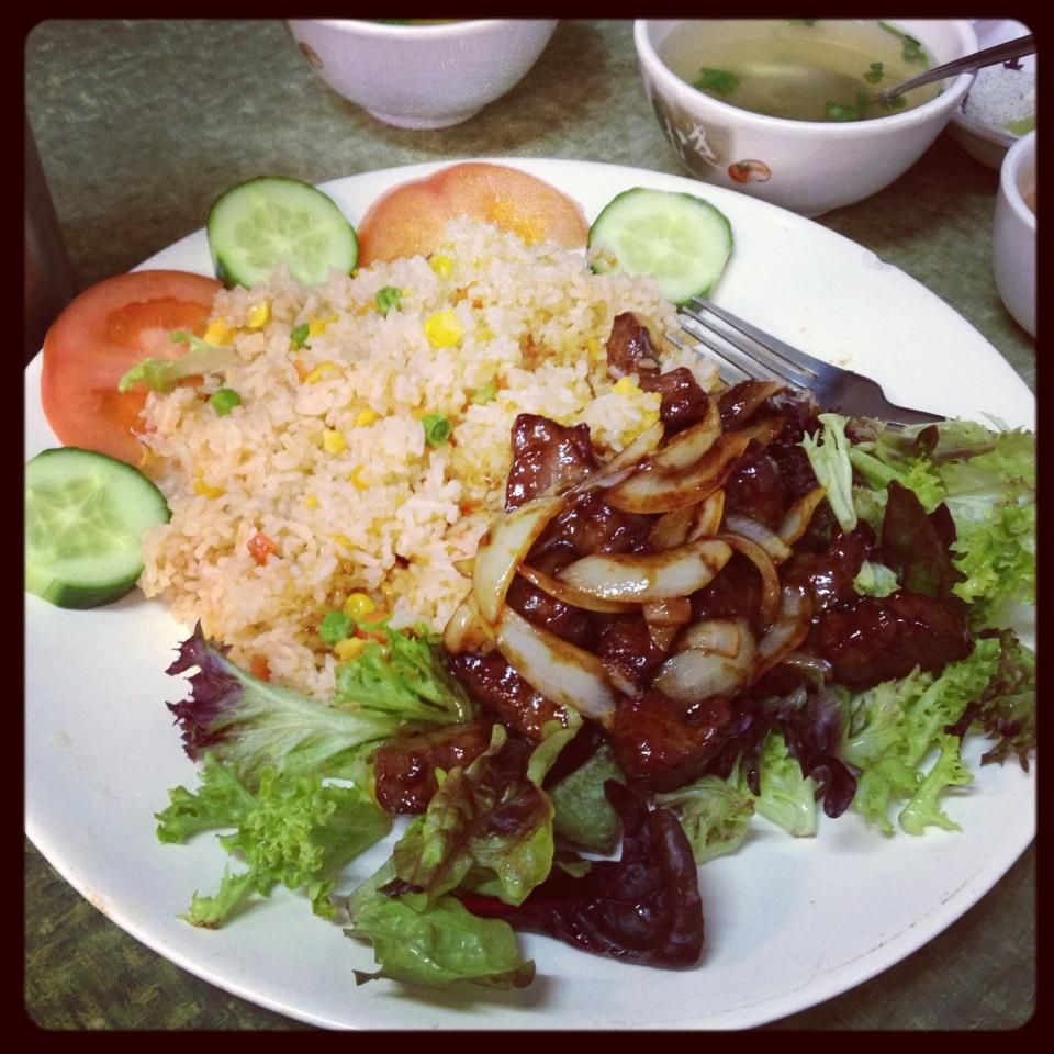 Tra Vinh (Footscray): Diced Beef Cubes with Fried Rice and Salad [10/10].