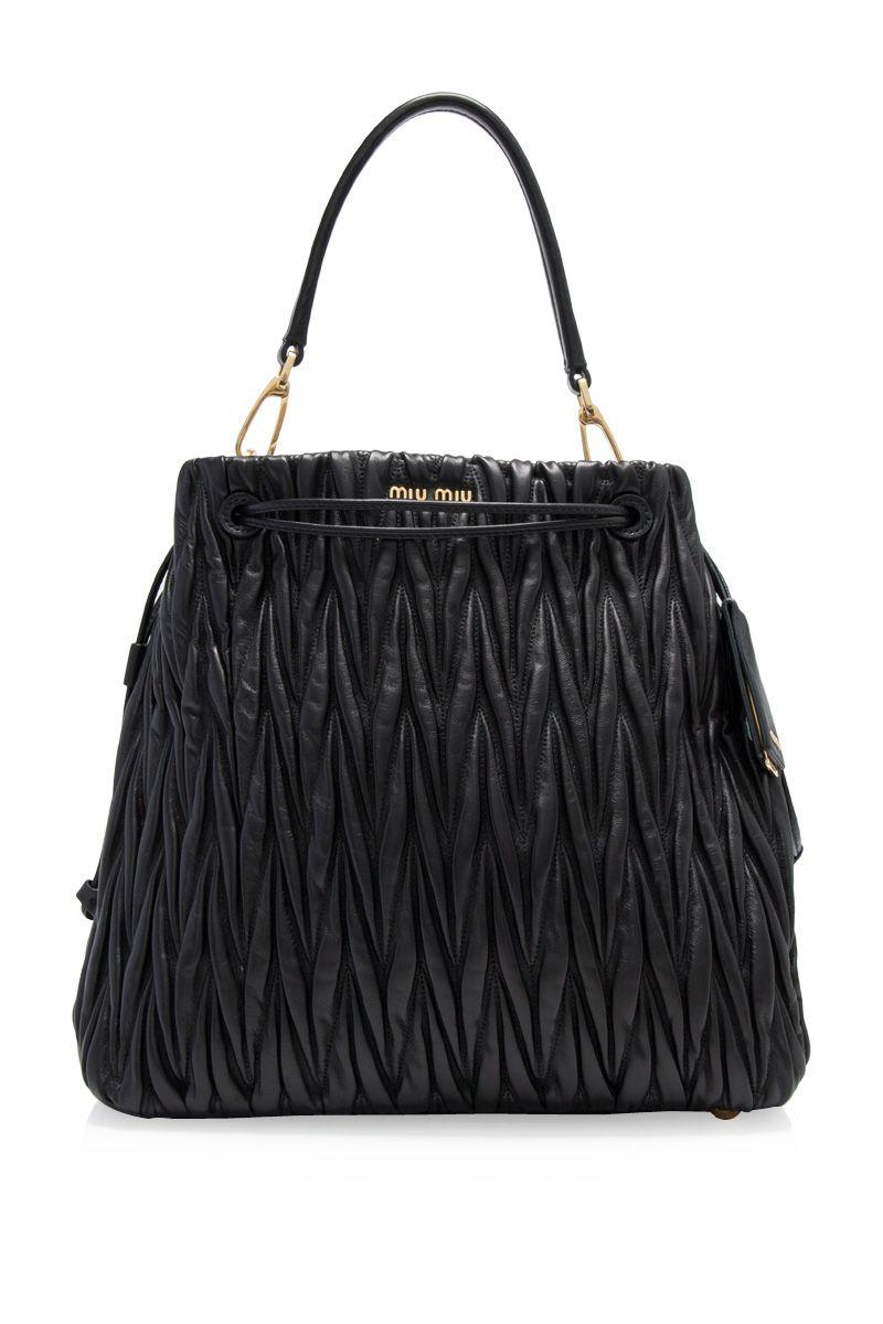 Miu Miu Matelasse Bucket Bag 31cm Nero (Designer Colour) - MIU MIU ... ddc698aa0a46a