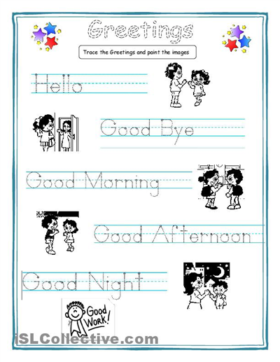Greetings for kids worksheet - Free ESL printable worksheets made by ...