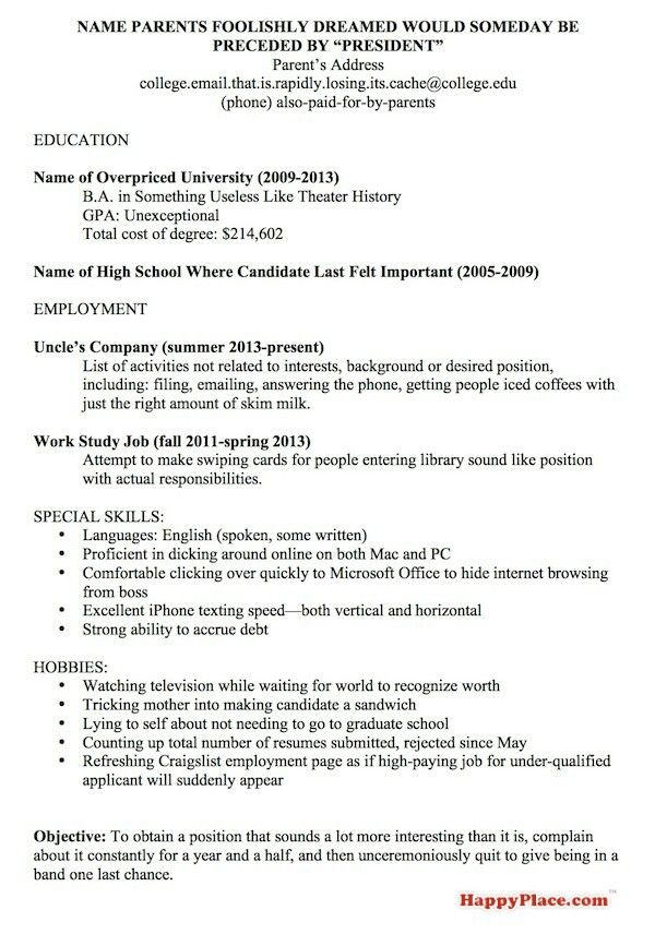 High School Resumes For College Ooh Resumes  Too Funny Andor Cute  Pinterest  Humor