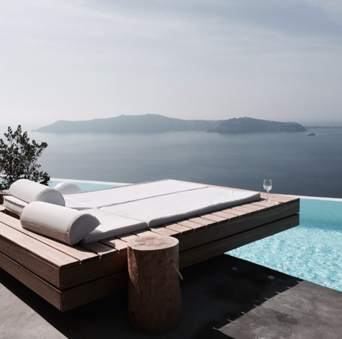 Concrete and wood accented outdoor area | modern | day bed ...